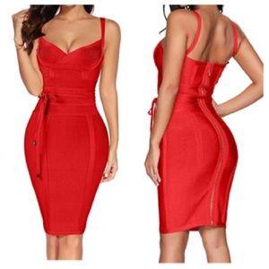 Kelli Red Bandage Dress